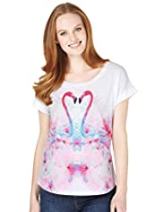 Pure Cotton Mirror Flamingo Print Top