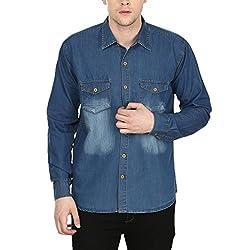 Stylox Men's Medium Blue Cotton Denim Shirt Medium Blue
