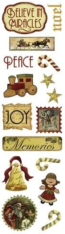 Vintage Christmas Clear Stickers 2.5″X10