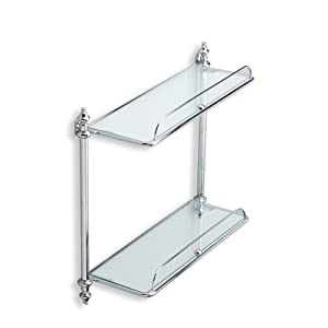 Nameeks El694 08 Mounted Double Glass Bathroom Shelf Chrome Mounted Bathroom Shelves