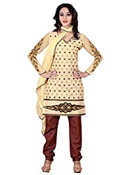 Vibes Womens Georgette Salwar Suit Dress Material (V121-1001 _Yellow _Free Size)