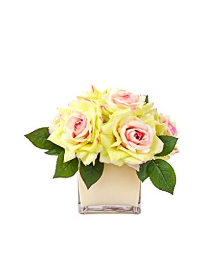Creative Displays Pink & Cream Roses in a Glass Container