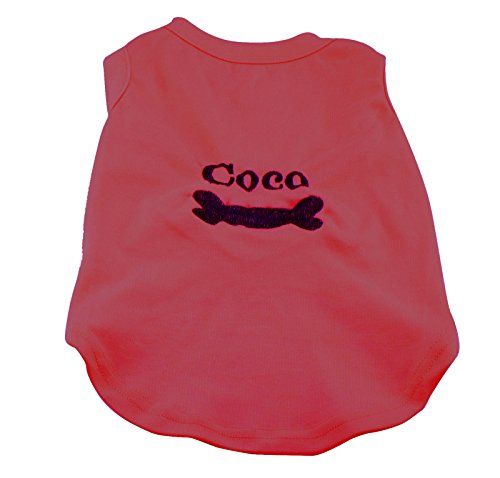Embroidered Personalized Pet Dog Clothes Tank Shirt FREE Customized Embroidery (M, Red) (Custom Dog Shirt compare prices)