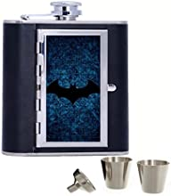 Dark Blue Colors Batman Logo Custom Personalized 6oz Pu Leather Flask Black Stainless Steel Funnel F