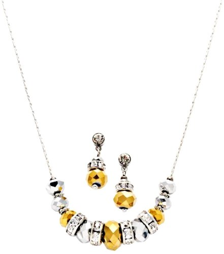 C.A.K.E By Ali Khan Jewelry Set, Silver & Gold Rondelle Glass Crystal Bead Necklace And Drop Earrings Set