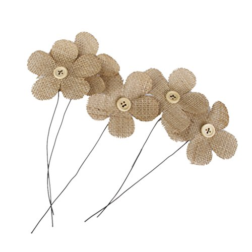 Lot de 5pcs Fleur en Jute Rustique Vintage Décoration pour Mariage Emballage Cadeau