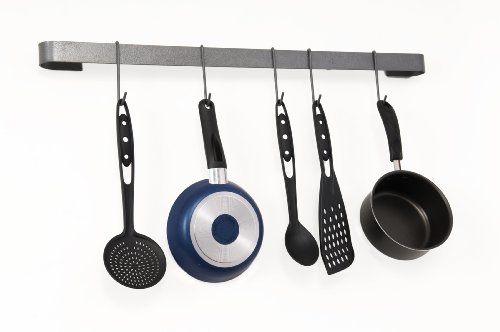 Rack It Up Long Utensil Bar Wall Pot Rack, Steel Gray