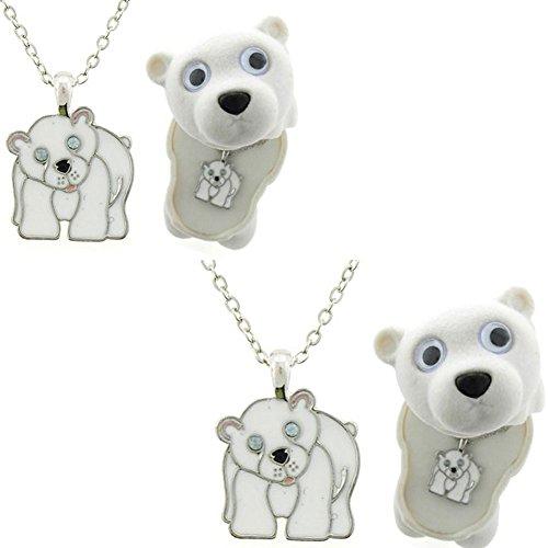 Polar Bear Enamel Necklace in Figural Gift Box (2 Pack) - 1