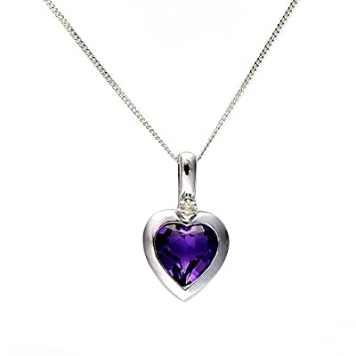 Ivy Gems 9ct White Gold Diamond Heart Pendant with 46cm Curb Chain