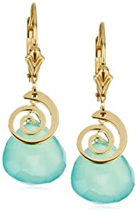 "Eva Hanusova ""Swirl"" Ocean Chalcedony 14k Gold Fill Earrings"