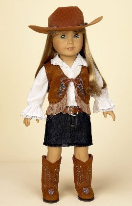 Cowgirl Outfit with Denim Skirt, COMPLETE Outfit, Fits 18