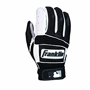 Franklin Sports Neo Classic II Adult Series Batting Glove (Black/White, Large)