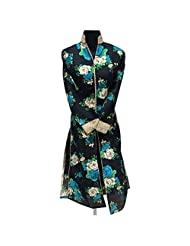 Black Raw Silk Party Wear Kurti With Print Work In Blue And Green