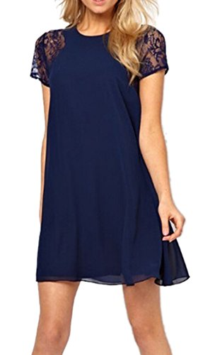ABUSA Womens Dresses Casual Summer Special Occasion Chiffon Dress Blue L