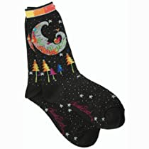 Laurel Burch Mystic Moon Socks, Black, 9-11