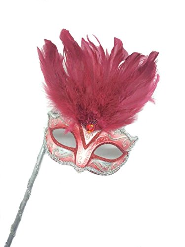 Mysterious Mardi Gras Masquerade Mask with Pink Feather & Stick