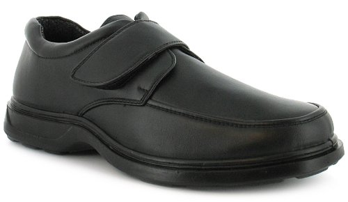 Mens/Gents Velcro Fastening Comfort Fit Shoes. Wider Fitting - Black - UK 10