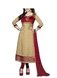 DivyaEmporio Women's Cotton Resham Anarkali Dress Material (SST-3976 _Beige _Free Size)