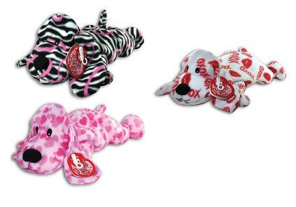 """Love Pups"" 20"" Fleece Microbead Filled Dog with Embroidered Eyes (Zebra Print)"