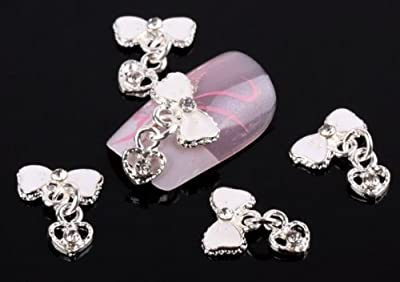 350buy 10pcs Bow Tie with Heart pendant Alloy 3D Rhinestone Nail Art Glitters Slices DIY Decoration