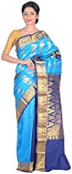 Sree Howrah Stores Women's Silk Saree with Blouse Piece (Blue and Peacock Blue)