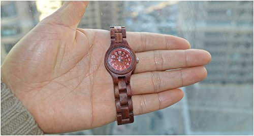 Ideashop� Handmade Women's Lightweight Round Red Natural Sandalwood Wood Watches Pure Wood Watch Women's Style Delta Quartz Analogue Watch Digital watch Quartz Movement Gift Wmen's Watches