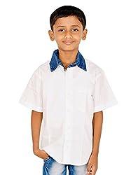Gkidz Boys Half sleeve White Shirt with Denim Collar