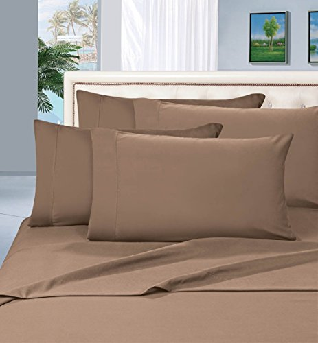 Elegant Comfort 1500 Thread Count Egyptian Quality 4-Piece Bed Sheet Sets, Queen, Deep Pockets, Taupe (California Queen Sheet Set compare prices)