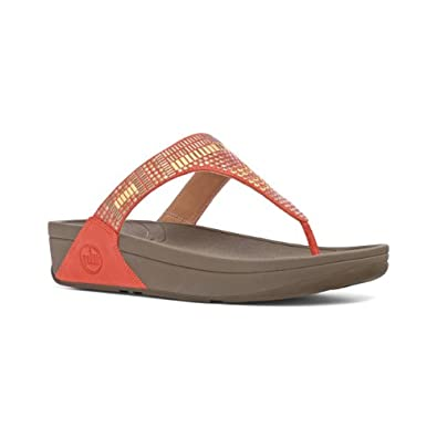 Fitflop Ladies Chada Aztek Red Leather Sandals Size 8