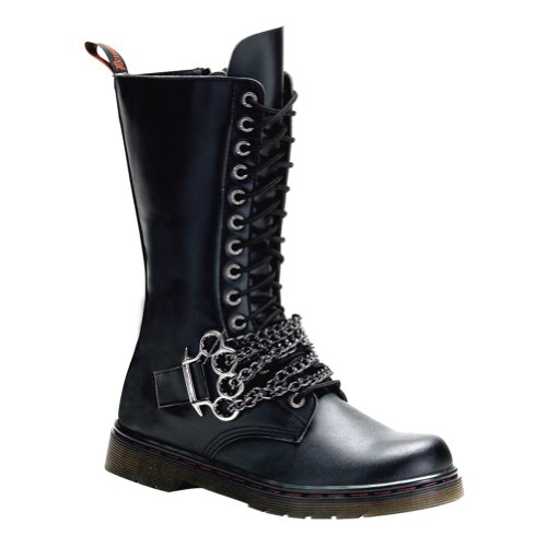 MENS SIZING Calf Boots Combat Gothic Boots Lace Up Brass Knuckles Chains Size: 8