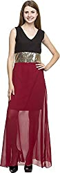 Dashy Club Women's Regular Fit Dress (VV-906-AC-B&M SEQUENCE LONG DRESS, Maroon and Black, XL)