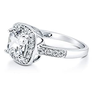 BERRICLE Sterling Silver Cushion Cut Cubic Zirconia CZ Halo Womens Engagement Wedding Bridal Ring by BERRICLE