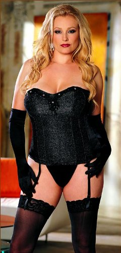 Plus Size Crepe And Metallic Net Corset