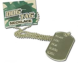 Adults Fancy Dress Party Accessory Neckwear Army Style Silver Dog Tag Necklace from Pams