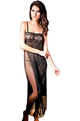 DarlingLove Women's Sexy Lace and Chiffon Babydoll Nightwear Long Gown Lingerie with Thong