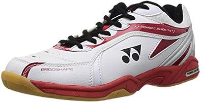 YONEX SHB-74EX Men's Badminton Shoes, White/Red, UK7