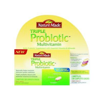 Nature Made Triple Probiotic Multivitamin - 2 Bottles 30 Caplets Each - 60 Total Caplets