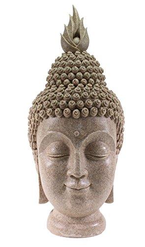 Smiling Meditating Buddha Shakyamuni Head Statue Large 15