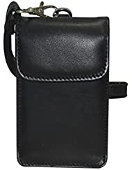NAZ Unisex Black Leather Sling Bag