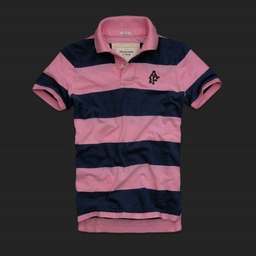 アバクロ ABERCROMBIE&FITCH 【直接買付け】並行輸入品 メンズ 半袖 ポロシャツ Wallface Mountain ピンクストライプ