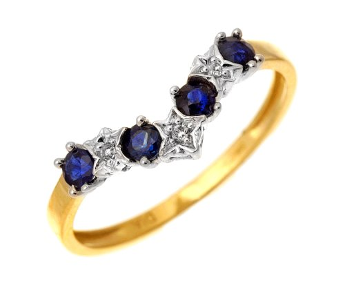 9ct Yellow Gold Sapphire And Diamond Wishbone Ring - Size K