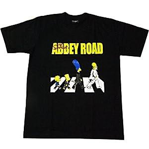 The Simpsons ザ・シンプソンズ Abbey Road アビイ ロード プリントTシャツ S 黒 (並行輸入品)