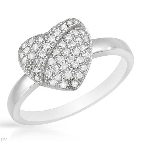 Heart Ring With Cubic zirconia Crafted in 925 Sterling silver (Size 7)