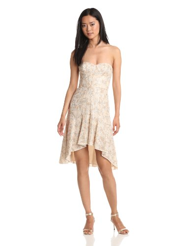 BCBGMAXAZRIA Women's Bryleigh Strapless Sequin Lace Dress, White Combo, 2