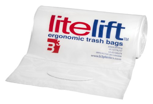 """B3 Plastics clr100ld55en2 litelift LDPE Ergonomic Drum Liner with Integrated Handle, 55 Gallon Capacity, 59-1/2"""" Length x 37"""" Width x 1.8 mil Thick, Clear (Pack of 100)"""