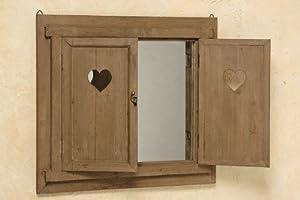 landhaus wandspiegel fenster spiegel herz klappladen. Black Bedroom Furniture Sets. Home Design Ideas
