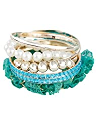 Young & Forever Aqua Blue Elegant Beads Pearl And Lace Bracelet (Set Of 6) For Women