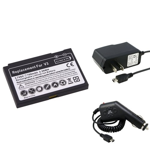 eForCity Cell Phone Battery+2 Charger Compatible with Motorola RAZR RAZOR V3
