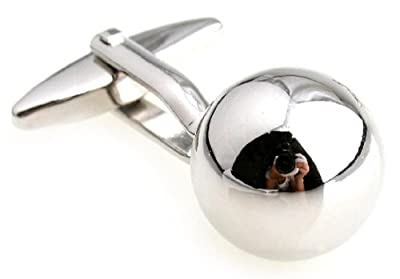 Ball Sphere Round Cufflinks with a Presentation Gift Box