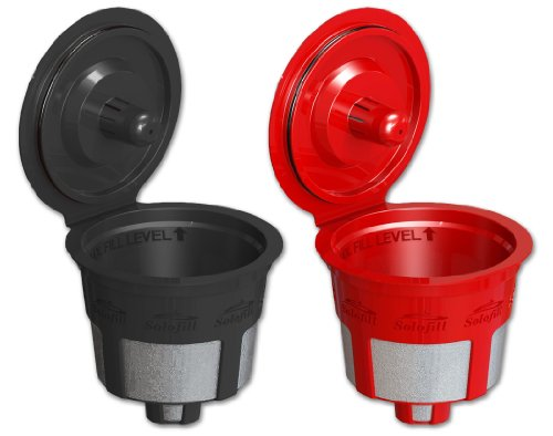 Solofill Cup, Refillable Cup For Keurig K-Cup Brewers, Red and Black, 2-Count Pack
